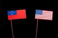 Samoa flag with USA flag  on black Stock Photos