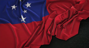 Samoa Flag Wrinkled On Dark Background 3D Render. Digital Art Royalty Free Stock Image