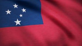Samoa flaga falowanie w wiatrze Tło z szorstką tekstylną teksturą Piękny atłasowy koniec zapętla chorągwianą animację Zdjęcie Royalty Free