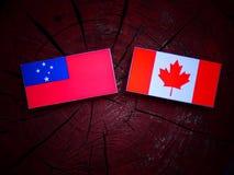 Samoa flaga z kanadyjczyk flaga na drzewnym fiszorku odizolowywającym fotografia royalty free
