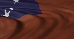 Samoa-Flagge, die in der leichten Brise flattert Lizenzfreies Stockfoto