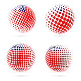 Samoa halftone flag set patriotic vector design. Stock Photos