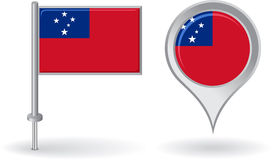 Samoa pin icon and map pointer flag. Vector Stock Image