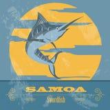 samoa swordfish Retro utformad bild Arkivbilder