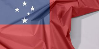 Samoa tkaniny flaga zagniecenie z biel przestrzenią i krepa obrazy royalty free