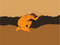 Samoan Atlas Holding Sky from Earth Drawing Stock Image