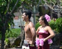 Samoan dancers perform traditional dancing. Honolulu, USA - March 26,2013: Samoan dancers show traditional arts during street festivities in Honolulu, Hawaii royalty free stock images