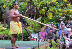 Samoan firemaking. An interpretive artist in traditional Samoan garb demonstrates fire making at the Polynesian Cultural Center in Laie, Oahu, Hawaii, on October stock images