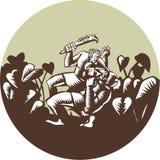 Samoan Losi Club Nifo'oti Weapon Circle Woodcut Stock Images