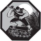 Samoan Ninja on top of Nipa Hut Retro Royalty Free Stock Image