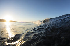 Samoan Wave. A perfect surfing wave pitching out in Samoa, at dawn royalty free stock photography