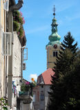 Samobor Croatia. Classic urban yellow church in Samobor, Croatia, Europe Royalty Free Stock Photos