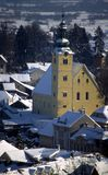 Samobor Croatia. Church St. Anastasia (Sveta Anastazija), Samobor, Croatia - winter panoramic photo Stock Photo