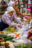 Samobor town anniversary with old ladies selling traditional food royalty free stock photography