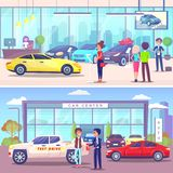 Samochód Centrum nabywca i kierownik, pojazd sala wystawowa ilustracja wektor