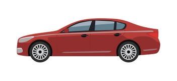 Samochód Czerwonego koloru Bożenarodzeniowa Wektorowa ilustracja ilustracja wektor