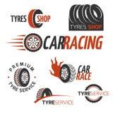 Samochód gumowej opony sklep, samochodowy koło, bieżni wektorowi logowie i etykietki ustawiający, Zdjęcia Stock