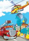 Samochód i latająca maszyna - ilustracja dla dzieci Obrazy Royalty Free
