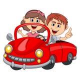 Samochód i para pasażerów młoda kreskówka royalty ilustracja