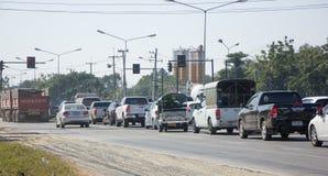 Samochód i ruch drogowy na autostrady drodze blisko Juction Fotografia Stock