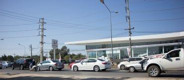 Samochód i ruch drogowy na autostrady drodze blisko Juction Obrazy Royalty Free
