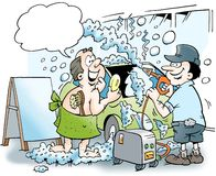 Samochód i właściciel dostajemy gorącego bąbla skąpanie Obraz Stock