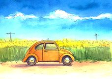 Samochód, ilustracja, akwarela, niebo, pole royalty ilustracja