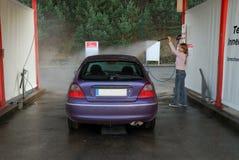 samochód jej kobieta prania Zdjęcie Stock