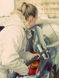 samochód jej kobieta prania Zdjęcie Royalty Free