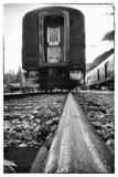 samochód linia kolejowa frachtowa stara Zdjęcia Royalty Free