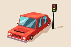 Samochód lub samochód, samochodu pojazd przy światła ruchu Obrazy Royalty Free