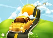 Samochód na drodze chmury royalty ilustracja