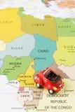 Samochód na mapie Obrazy Stock