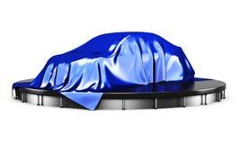 Samochód na podium zakrywającym z błękitnym atłasowym płótnem przed teraźniejszością royalty ilustracja