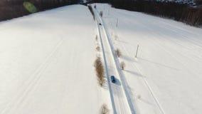 Samochód na zimy drodze Styczeń 33c krajobrazu Rosji zima ural temperatury Obraz Royalty Free