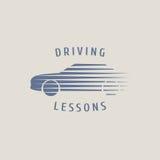 Samochód napędowej szkoły wektorowy logo, znak, emblemat Zdjęcie Royalty Free