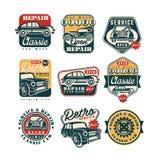 Samochód naprawy i usługa rocznika stylu etykietki ustawiać, auto obmycia retro klasyczny logo, odznak wektorowe ilustracje na bi ilustracji