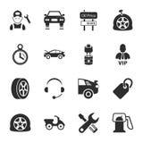 Samochód naprawy 16 ikon ogólnoludzki ustawiający dla sieci i wiszącej ozdoby Zdjęcia Royalty Free