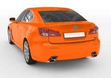 Samochód odizolowywający na bielu lewy s - pomarańczowa farba, zabarwiający szkło - Fotografia Royalty Free