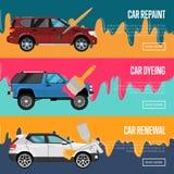 Samochód odmalowywa, odnowienia i barwiarstwa biznesu pojęcie, Zdjęcie Royalty Free