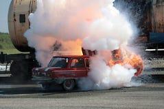 samochód ogień obraz stock