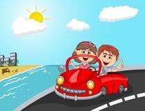 Samochód, pary młodzi pasażery z plażową tło kreskówką ilustracji