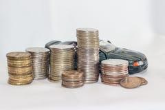 Samochód, pieniądze, biały tło sposobności Zdjęcia Stock
