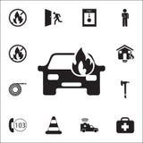 samochód podpalająca ikona Szczegółowy set ogienia strażnika ikony Premii ilości graficznego projekta znak Jeden inkasowe ikony d royalty ilustracja