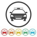 Samochód policyjny ikona w okręgu również zwrócić corel ilustracji wektora ilustracja wektor