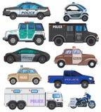 Samochód policyjny polisy wektorowy pojazd, motocykl i motocykl policjanta ilustracyjny ustawiający funkcjonariusza policji trans ilustracja wektor