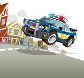Samochód policyjny przy obowiązkiem - ilustracja dla dzieci Zdjęcie Stock