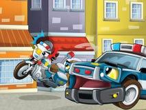 Samochód policyjny przy obowiązkiem - ilustracja dla dzieci Fotografia Royalty Free