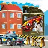 Samochód policyjny przy obowiązkiem - ilustracja dla dzieci Zdjęcia Stock