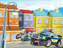 Samochód policyjny przy obowiązkiem - ilustracja dla dzieci Obraz Royalty Free